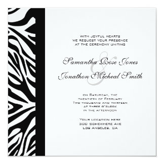 Elegant Black and White Zebra Custom Wedding Card
