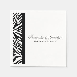 Elegant Black and White Zebra Custom Wedding Napkin
