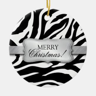 Elegant Black and White Zebra Pattern Ceramic Ornament