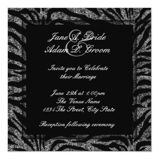 Elegant Black and White Zebra Wedding Card