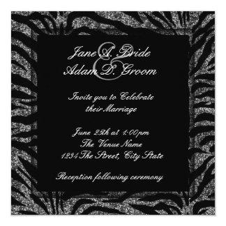 "Elegant Black and White Zebra Wedding 5.25"" Square Invitation Card"