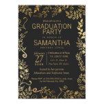 Elegant Black and Yellow Gold Floral Graduation Card