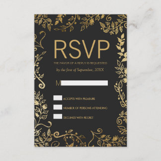 Elegant Black and Yellow Gold Floral RSVP Cards