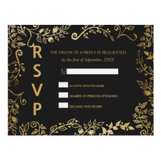 Elegant Black and Yellow Gold Floral RSVP Postcard