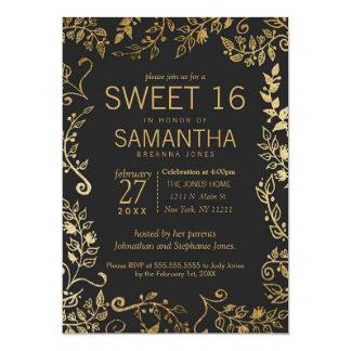 Elegant Black and Yellow Gold Floral Sweet 16 Card
