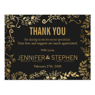 Elegant Black and Yellow Gold Floral Thank You Postcard