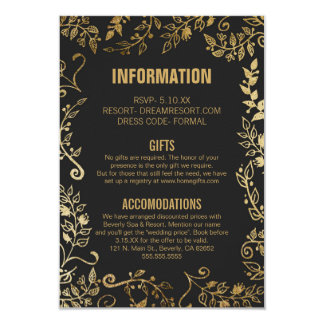Elegant Black and Yellow Gold Floral Wedding Info Card