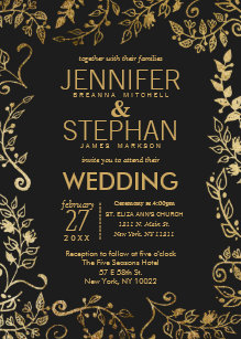Black And Gold Wedding Invitations | Black And Gold Wedding Invitations Zazzle