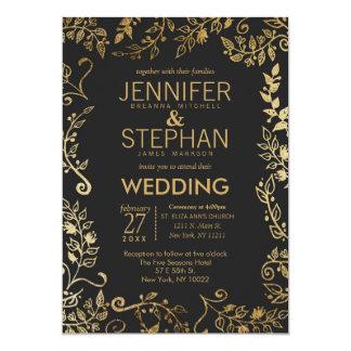 Elegant Black and Yellow Gold Floral Wedding Invitation