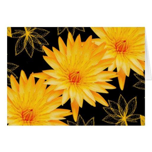Elegant black and yellow lillies - customizable card