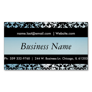 Elegant Black & Aqua Blue Damask Design Business Card Magnet