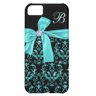 Elegant Black Aqua Damask Diamond Bow Monogram Case For iPhone 5C