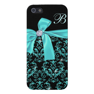 Elegant Black Aqua Damask Diamond Bow Monogram Case For iPhone SE/5/5s