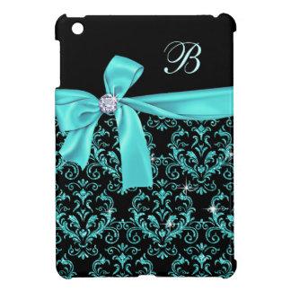Elegant Black Aqua Damask Diamond Bow Monogram iPad Mini Cover