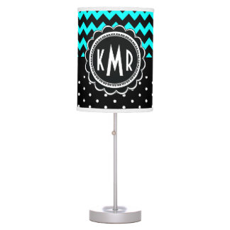 Elegant Black Aqua Retro Polka Dot Chevron Table Lamp