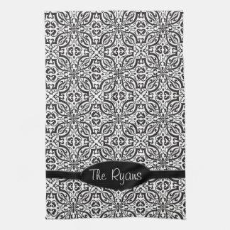 Elegant Black Baroque Damask Monogram Hand Towel