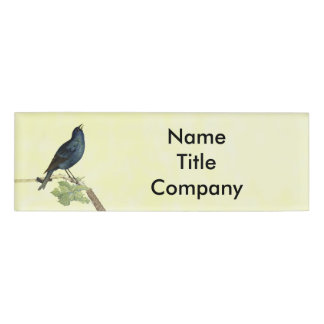 Elegant Black Bird Branch Leaves Caterpillar Name Tag