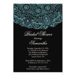 Elegant Black Blue Lace Bridal Shower Invitation