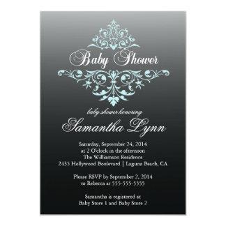 "Elegant Black Blue Ombre Baby Shower Invitation 5"" X 7"" Invitation Card"