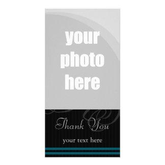 "Elegant Black/Blue ""Thank You"" Photo Card"