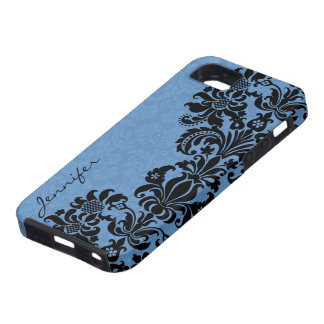 Elegant Black & Blue Vintage Floral Damasks iPhone 5 Cover