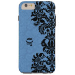 Elegant Black & Blue Vintage Floral Damasks Tough iPhone 6 Plus Case