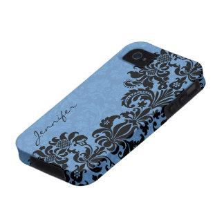 Elegant Black & Blue Vintage Floral Damasks iPhone 4/4S Cases