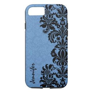 Elegant Black & Blue Vintage Floral Damasks iPhone 8/7 Case