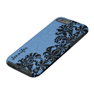 Elegant Black & Blue Vintage Floral Damasks Tough iPhone 6 Case