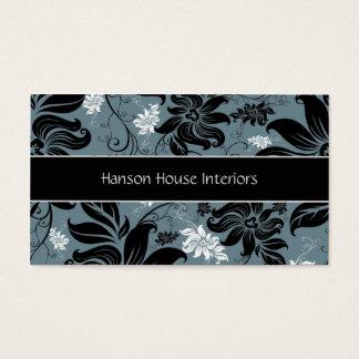 Elegant Black Blue White Floral Business Card