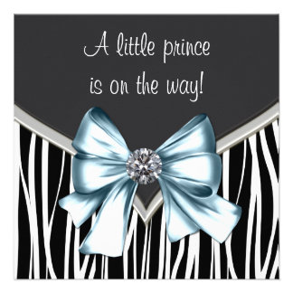 Elegant Black Blue Zebra Prince Baby Shower Announcement