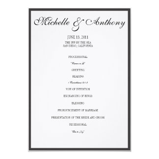 Elegant Black Border Wedding Program 5x7 Paper Invitation Card