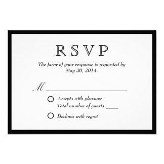 Elegant Black Border Wedding RSVP Card