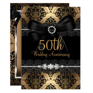 Elegant Black Bow & Damask Gold 50th Anniversary 2 Invitation