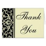 Elegant Black Brocade border Thank you note card
