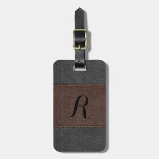 Elegant Black & Brown Vintage Leather Luggage Tag
