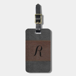 Elegant Black & Brown Vintage Leather Tag For Luggage
