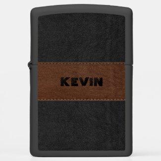Elegant Black & Brown Vintage Leather Zippo Lighter