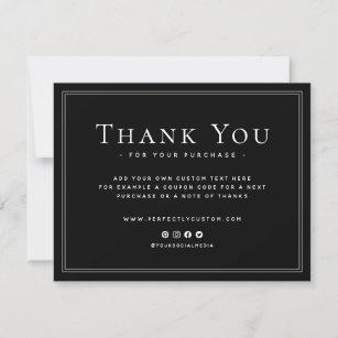 Elegant black business thank you note custom logo