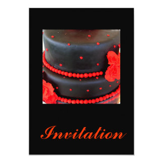 Elegant black cake with red beading card