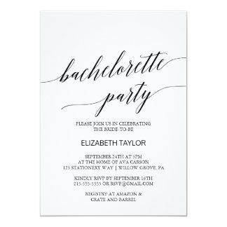 Elegant Black Calligraphy Bachelorette Party Card