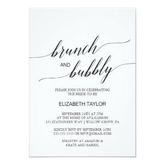Elegant Black Calligraphy Brunch and Bubbly Card