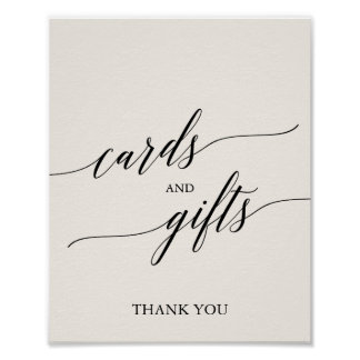 Elegant Black Calligraphy Cream Cards and Gifts Poster