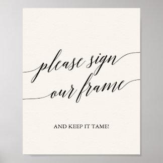 Elegant Black Calligraphy Cream Sign Our Frame