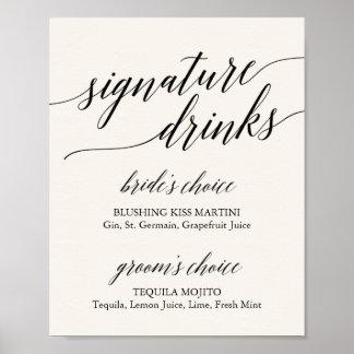 Elegant Black Calligraphy Cream Signature Drinks Poster