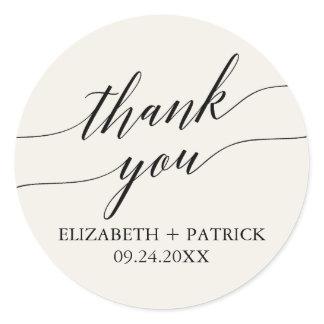 Elegant Black Calligraphy Cream Thank You Favor Classic Round Sticker