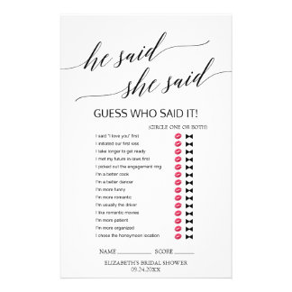"Elegant Black Calligraphy ""He Said She Said"" Game Flyer"