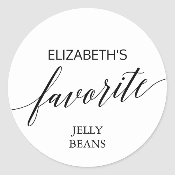 Elegant Black Calligraphy His and Her Favorite Classic Round Sticker