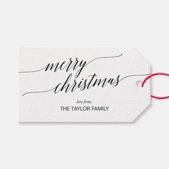 Merry Christmas Calligraphy.Elegant Black Calligraphy Merry Christmas Gift Tags