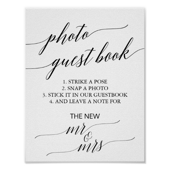Elegant Black Calligraphy Photo Guest Book